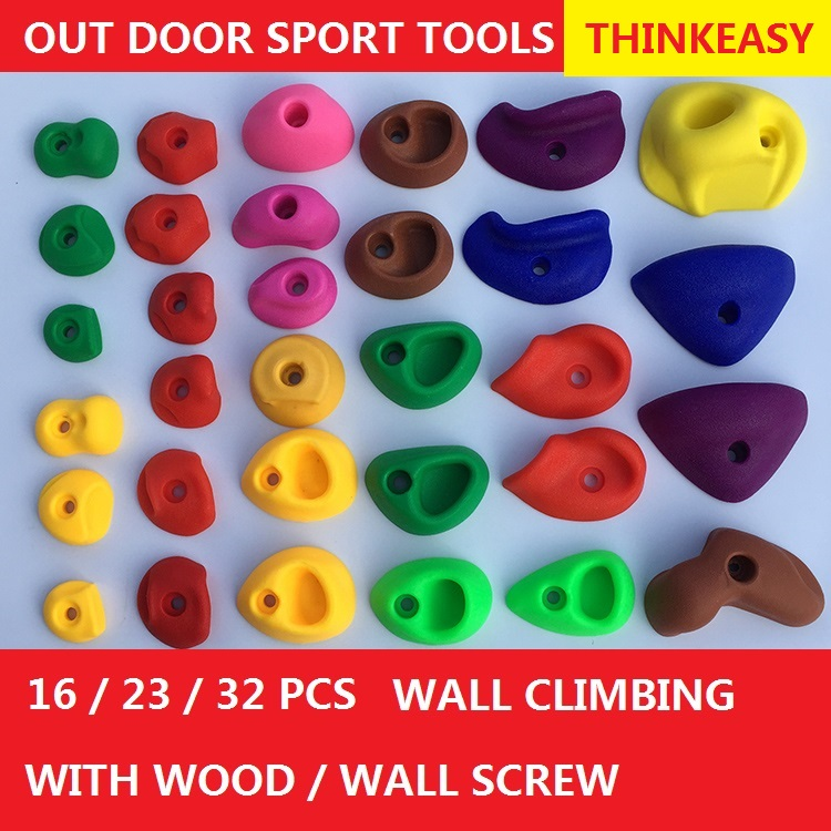 THINKEASY 32/16 Pcs Plastic children Indoor Rock Climbing Stones toy Kids Toys Sports Hold outdoor game Playground With screw indoor children soft playground electric play toys for play center amusement indoor playground equipment ina1555