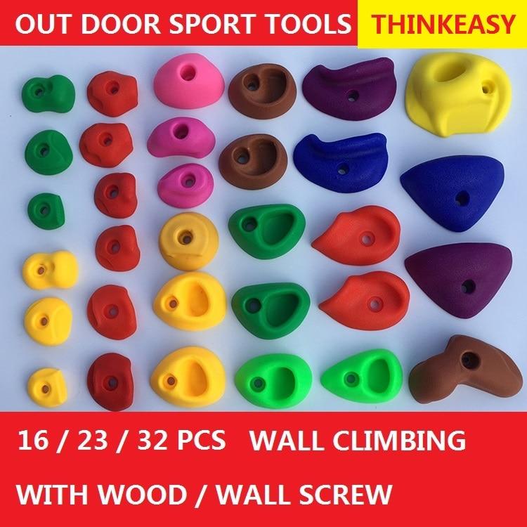 THINKEASY 32/16 ცალი პლასტიკური ბავშვები Indoor Rock საფეხურზე Stones სათამაშო საბავშვო სათამაშოები სპორტული გამართავს გარე თამაში მოედანი ხრახნით
