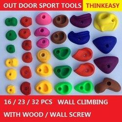 THINKEASY 32/16 piezas de plástico para niños en interiores, piedras de escalada, juguetes para niños, juegos al aire libre con tornillo