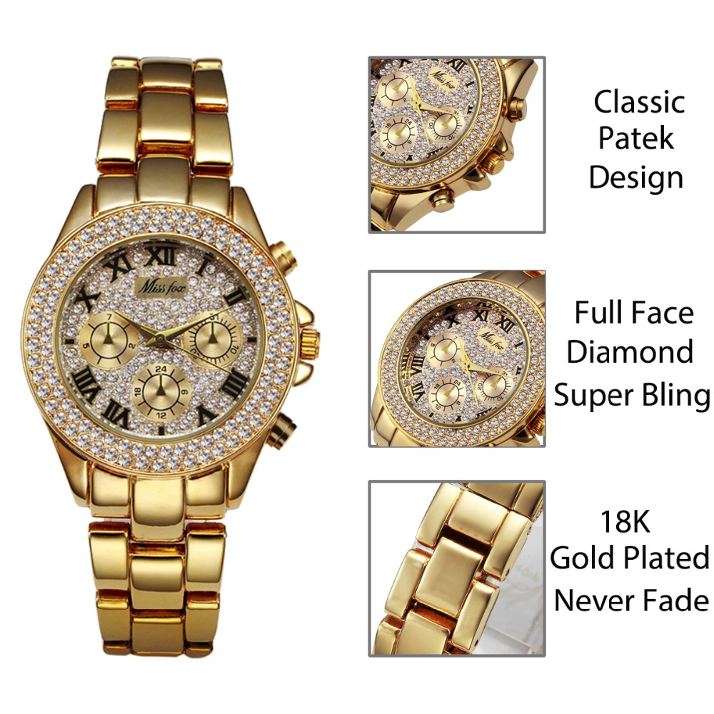 MISSFOX Women Watces Luxury Watch Women Fashion 18 Relogio Feminino Chronograph Roman Gold Ladies Watches Quartz Wristwatches 5