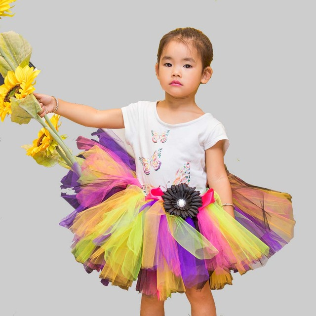 Children Candy Multicolor 5Y 7Y Bust Skirt Gauze Tutu Skirt Girls TUTU Skirt Rainbow Colors 6Y  Little Girl  TUTU Skirt