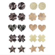 10 pairs (20 Pcs) /lot Lace women Heart Nipple Pasties Breast Bra Cover Paste Adhesive erotic lingerie Stickers