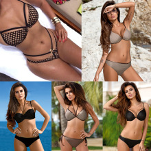 Bikini Summer Sexy Mesh Bikini Set Metal Swimwear Women Back Tie Swimsuits Brazilian Nets Yarn Agent Provocateur цена 2017