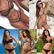 Bikini Summer Sexy Mesh Bikini Set Metal Swimwear Women Back Tie Swimsuits Brazilian Nets Yarn Agent Provocateur