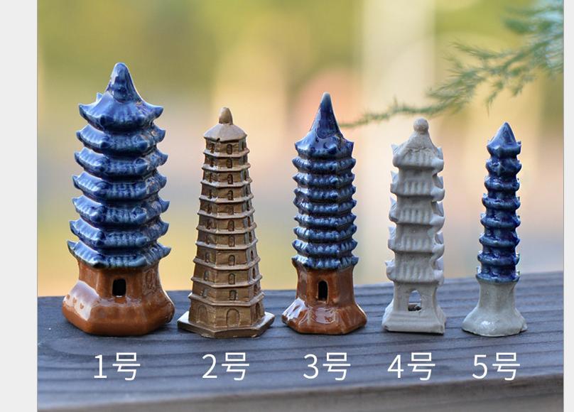 Micro landscape Ornaments Bonsai Garden Decoration Ceramic tower Home Decoration Ornaments Garden Decorations  1 PCS