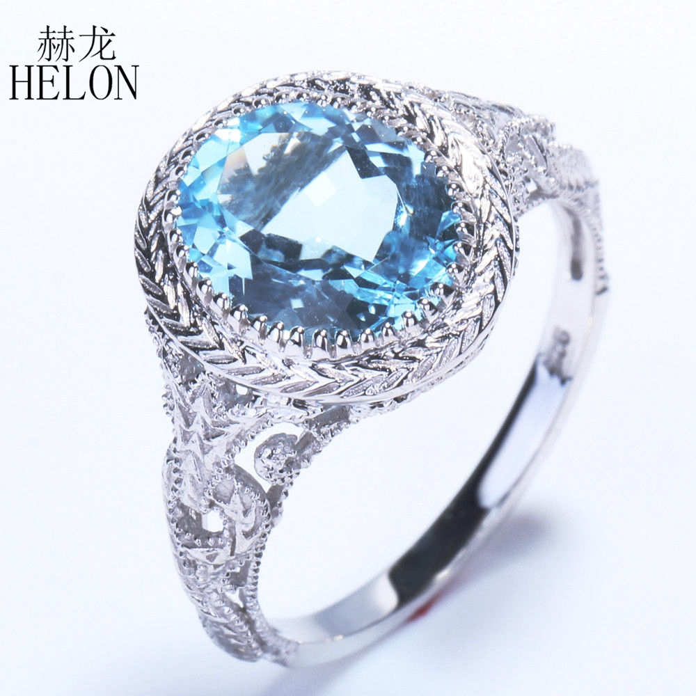 HELON Vintage Art Deco Style Flawless 2.34ct Oval 100% Genuine Blue Topaz Sterling Silver 925 Engagement Wedding Jewelry Ring серьги art silver art silver ar004dwzmh30