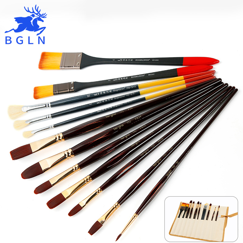 Bgln 12Pcs Bristles&Nylon Hair Oil Paint Brush High Quality Oil Acrylic Painting Brush Art Supplies ZH-13-07 bgln 12pcs set bristle hair flat oil painting brush mix size solid wood pole artist oil acrylic paint brush art supplies