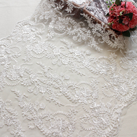 Embroidered Organza Tulle Lace Fabric Ivory For Wedding Dress High End Sequins Jacquard Lace Fabric Material