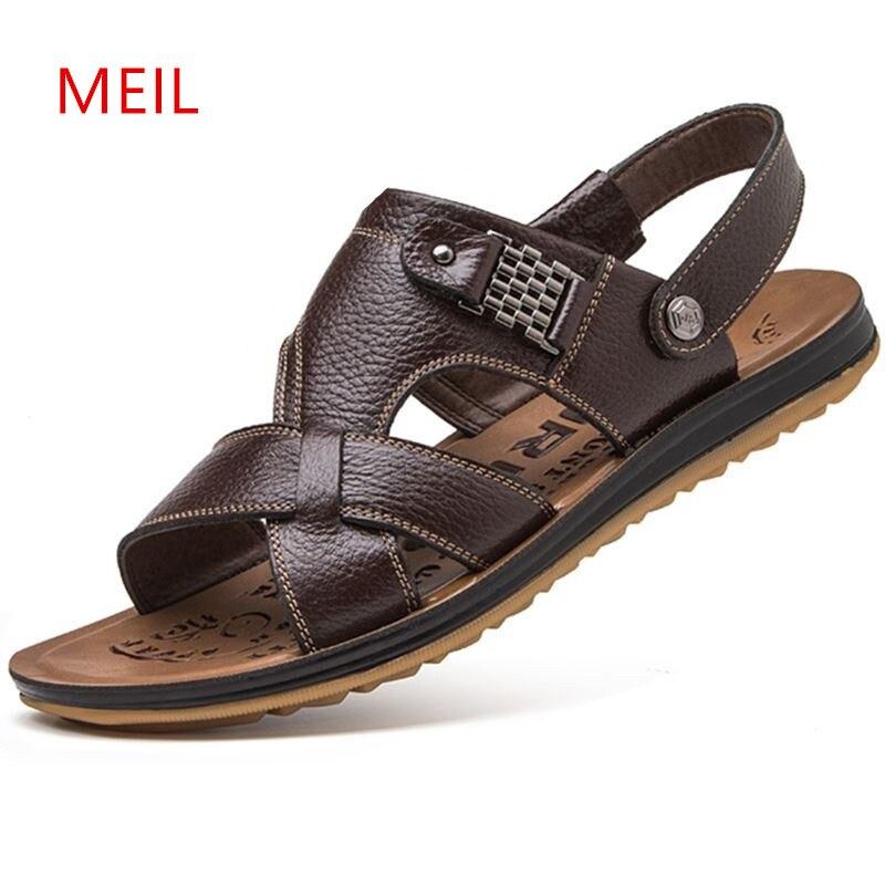 Genuine Leather Sandals Men 2018 Mens Summer Shoes Sandals Breathable Casual Slip On Beach Sandals High Quality Sandalen Heren