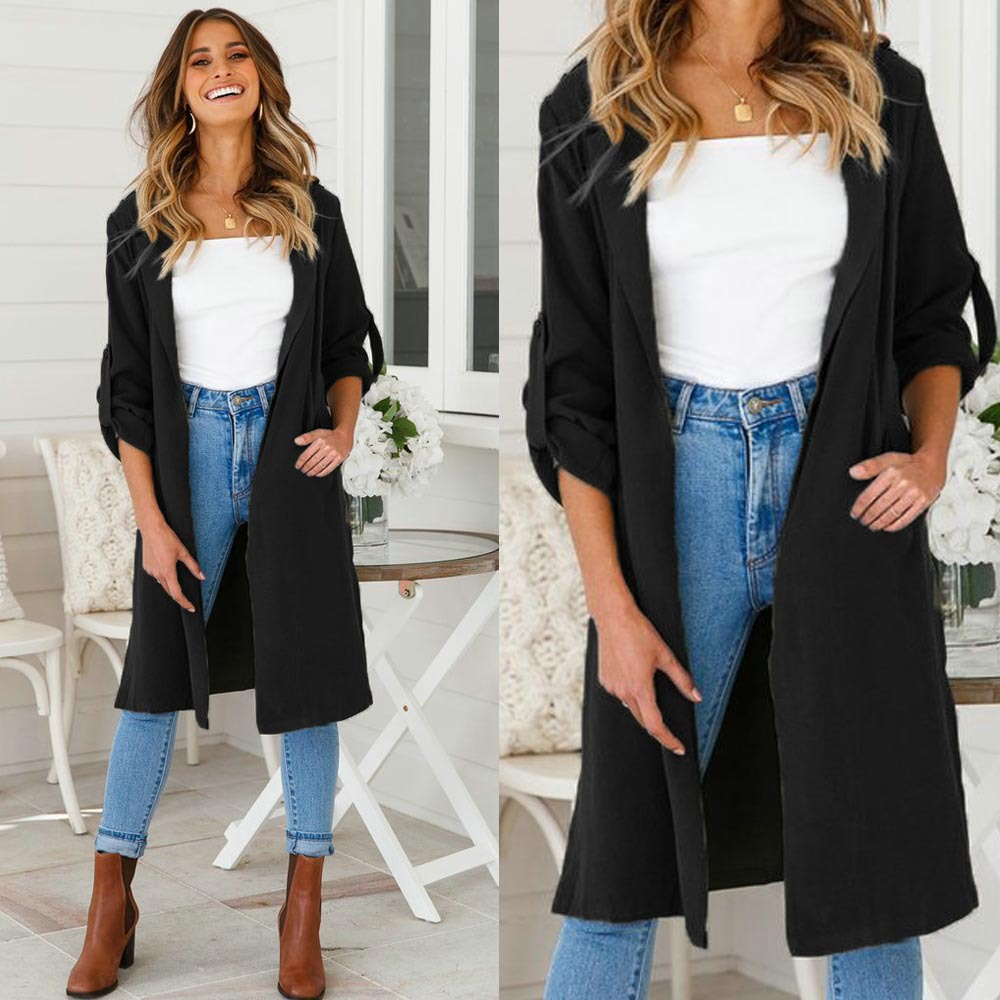 2018 New Long   Trench   Coat Cape For Women UNIF Autumn Outfits Women's Windbreaker Cardigan Overcoat Fashion Women Cloth Outwear
