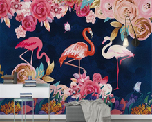 beibehang behang hudas beauty Custom hand painted plant flowers flamingo background wallpaper mural wall papers home decor