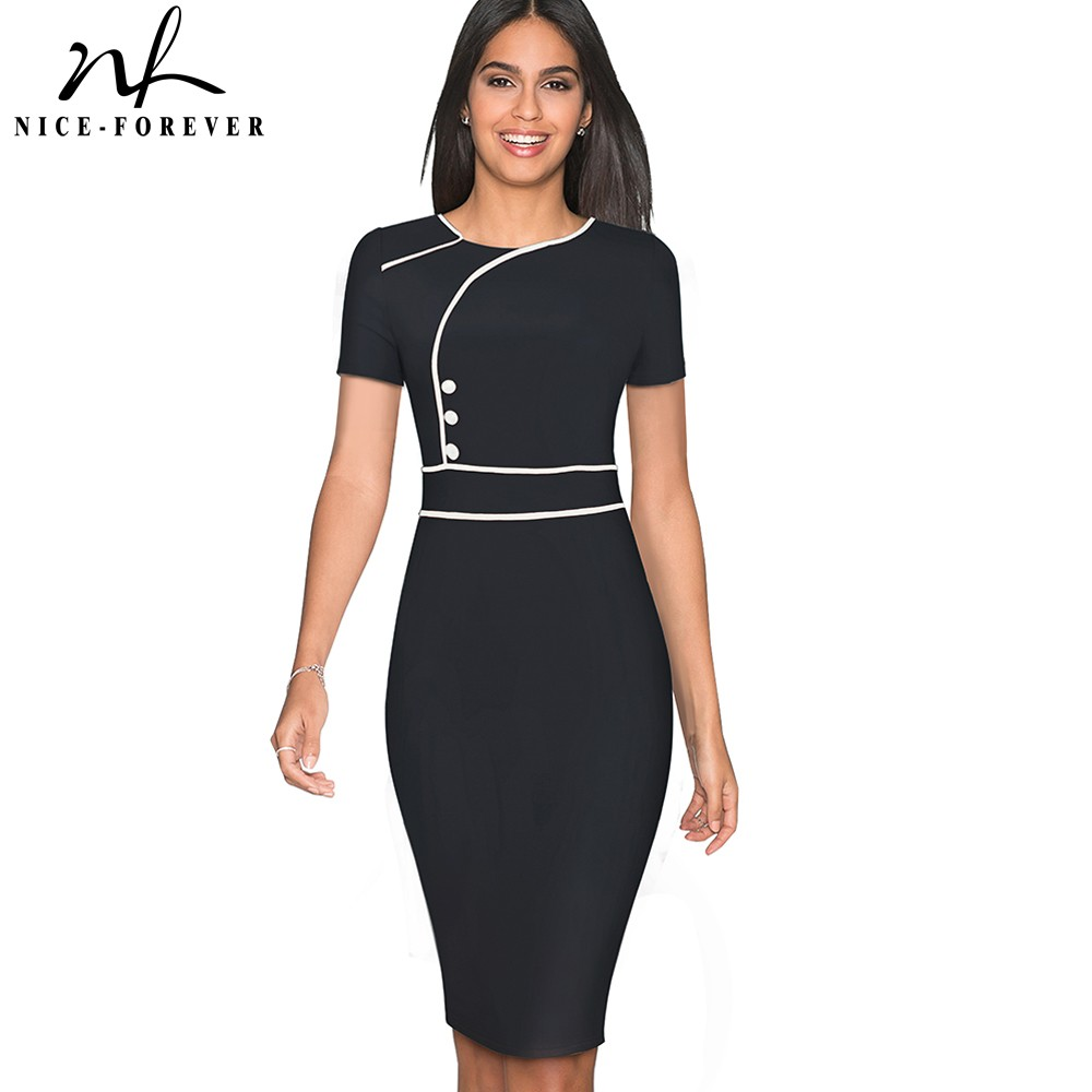 Nice-forever Vintage Elegant Patchwork Wear To Work Female Vestidos Business Bodycon Office Party Sheath Women Dress B509