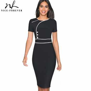Nice-forever Vintage Elegant Patchwork Wear to Work Female vestidos Business Bodycon Office Party Sheath Women Dress B509 - DISCOUNT ITEM  41% OFF All Category