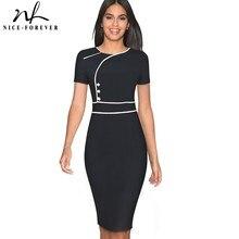 니스 영원히 빈티지 우아한 패치 워크 착용 여성 vestidos 비즈니스 Bodycon 사무실 파티 칼집 여성 드레스 B509