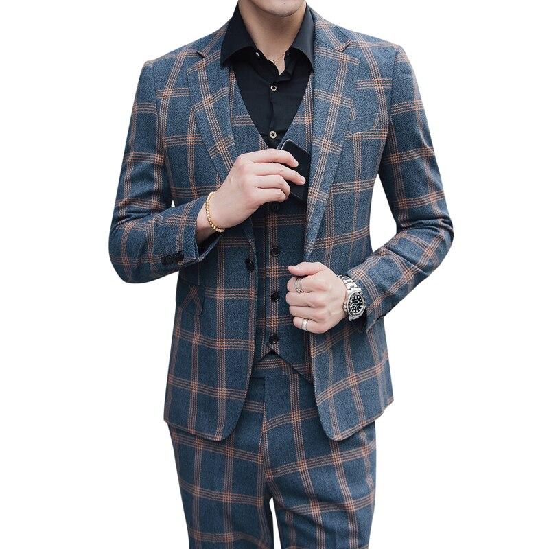 (Tops + Pants + Vests) Spring Mens Three-piece Korean Youth Retro Plaid Groom Wedding Host Dinner Casual Suit S-5XL