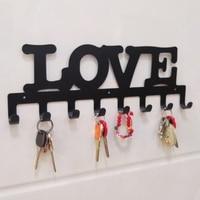 Wrought Iron Decorative Hooks Letter Love Wall Hanging 8 Hanging Bedroom Coat Hooks Key Hangers