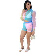 New womens organza jumpsuit two-piece perspective lace sexy stitching color casual suit