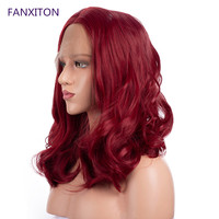 Wig FANXITON Lace Front Wig Red Color For Black Women 130% Density Wigs Swiss Lace Wavy Wig