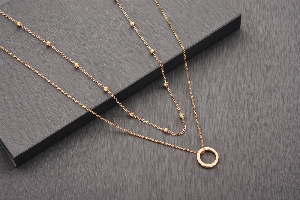 Chandler 2020 coreano novo círculo geométrico dupla camada gargantilha fina corrente colares para mulheres meninas presentes de festa simples jóias