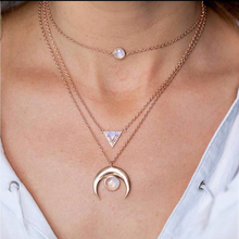 OLOEY Fashion Women Necklace 2019 Alloy Opal Pendants Chain Female Multi-Layer Geometric Womens Necklaces Jewelry Charms Ladies
