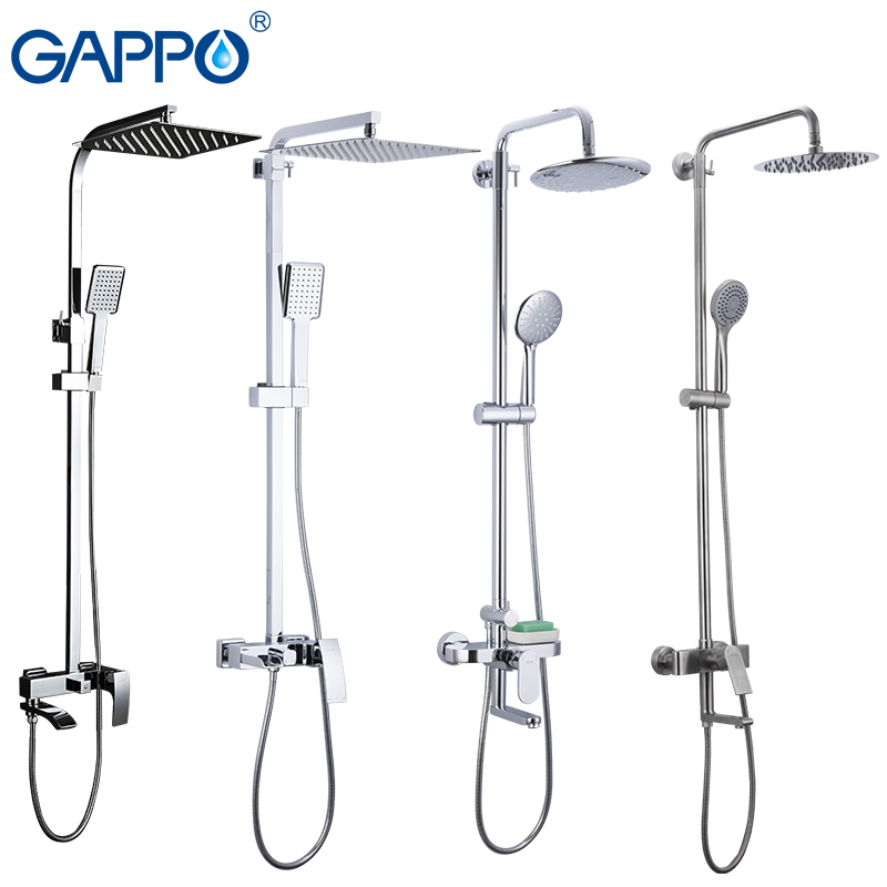GAPPO Sanitary Ware Suite bathroom shower faucet bath shower mixer faucet taps rain shower head set waterfall bathtub faucet