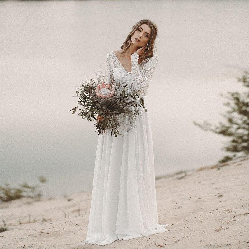 c5f474563d90 Wedding Dress Long Sleeve Boho V Neck Backless bridal dresses 2019 Chiffon  Princess Lace Chiffon Wedding