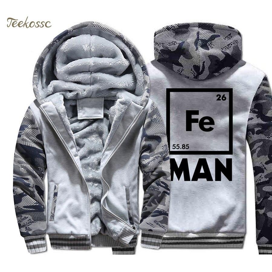 Iron Man Science Jacket Men Cool Novelty Funny Superhero Sweatshirt Coat Winter Thick Fleece Warm Hoodie Casual Streetwear Homme