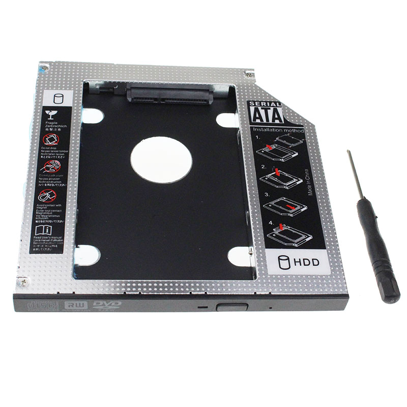 Full Aluminum Universal Laptop 2nd HDD Caddy 9.5mm SATA 3.0 For 2.5