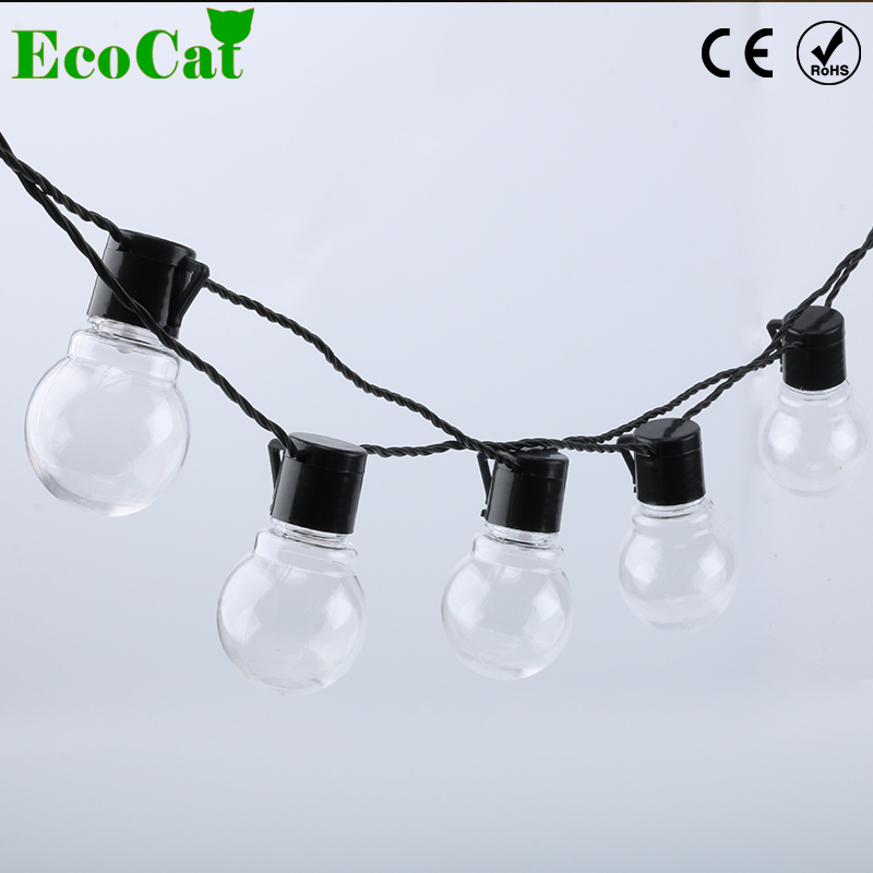 ECO Cat led Christmas Lights G45 LED Bulb Globe Connectable Festoon Party Ball string lamp fairy wedding garden pendant garland 10m 100 led 110v 8 mode fancy ball lights decorative christmas party festival twinkle string lamp strip rgb us plug
