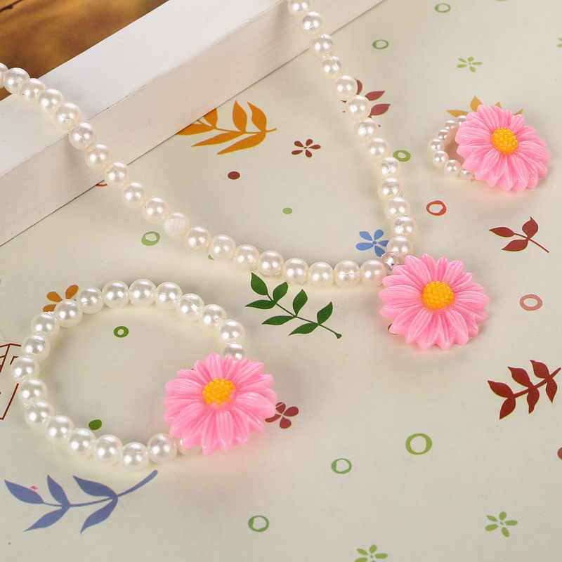 Handmade Simulated Pearl Jewelry Sweet Suit Baby Kids Jewelry Set Sun Flower Necklace Stretch Bracelet Ring Party Gift