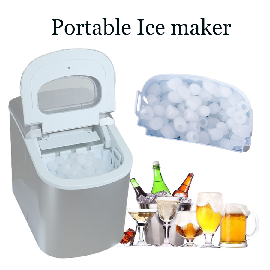 Smad 110V Portable Mini Ice Maker Ice Cube Machine High Quality Compact Tabletop Touch Control Ice Maker Make 26 lb/day Ice small commercial ice machine portable automatic ice maker household ice cube make machine for home use bar coffee shop