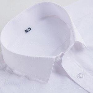 Image 4 - QISHA Mens Camisa do Negócio de Manga Comprida Casuais Inteligentes Sarja Cor Sólida Masculino Camisa Roupas Fino Profissional New Cinza Homem Social