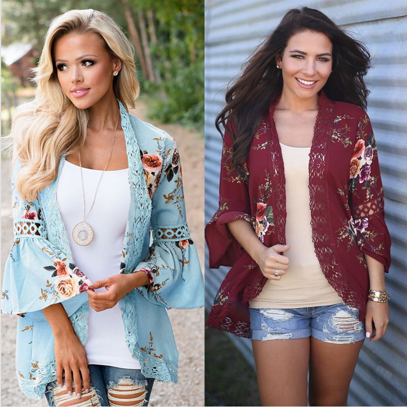Autumn 2019 Boho Women Jacket Lace Flare Long Sleeve Slim Casual Open Stitch Tops Fashion Women Clothes Spring Shirt Coat Jacket