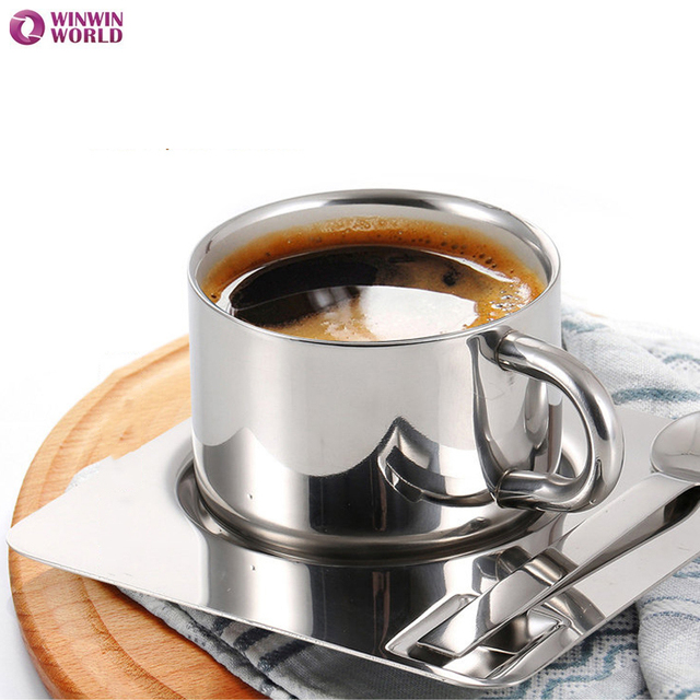 175ml Creative 304 Stainless Steel Coffee Mug Italian Water Beer Office Tilt Tazas Children Milk Multi