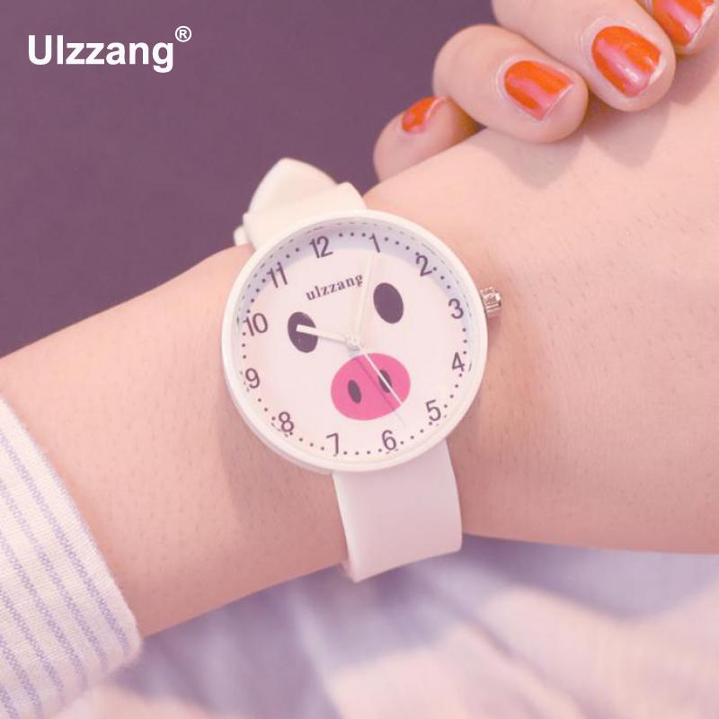 цена Fashion Lovely Women Quartz Wristwatches Carton Pig Face Dial Candy Colors Cute Girls Small Watch Students Sweet Leisure Clock