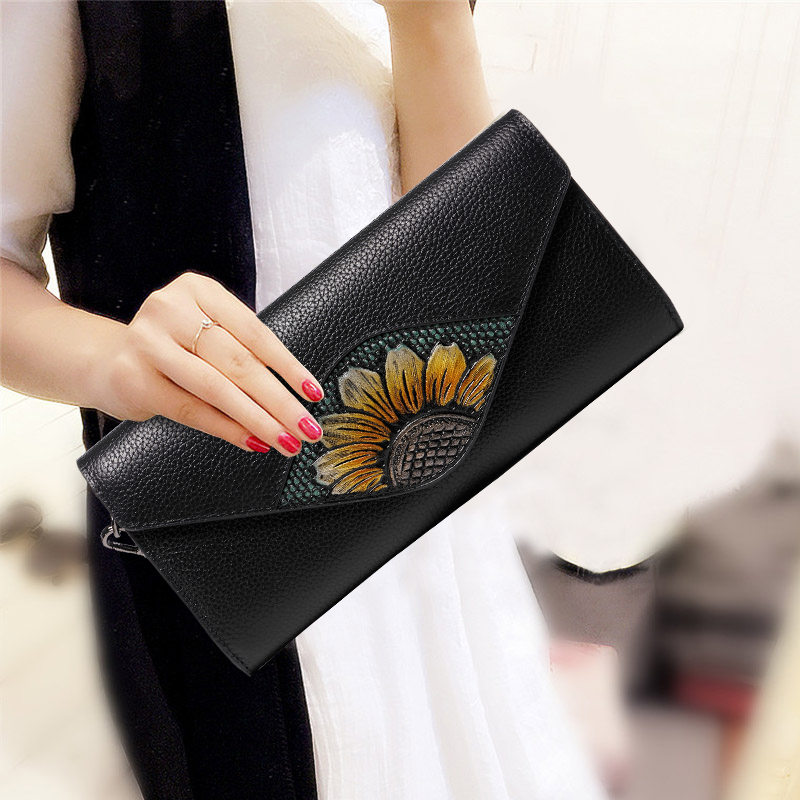 Luxury Hand Bag Sunflower Purse Long Wallet Genuine Leather Women Evening Clutches Envelope Shoulder Hand Clutch Crossbody Bag huayi 10x20ft wood letter wall backdrop wood floor vinyl wedding photography backdrops photo props background woods xt 6396