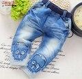 NEW! бесплатная доставка 2017 весна осень прохладный мальчики хлопка мягкие Черепа джинсы, Свободные ребенок мальчик джинсы мальчик джинсы длинные брюки