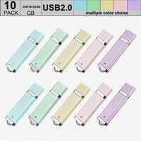 10 개/몫 마이크로 USB 2.0 플래시 드라이브 64 기가바이트 Pendrive 32 기가바이트 16 기가바이트 8 기가바이트 플래시 키 메모리 스틱 펜 드라이버 믹스 색상 도매
