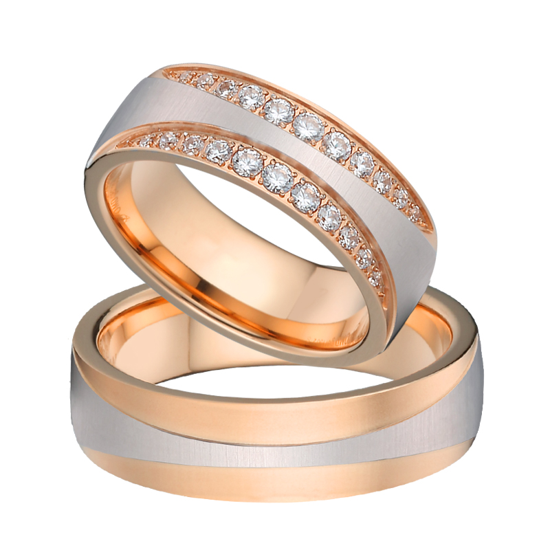 Unique Wedding Band Eternity Ring Design Cheap Price bridal sets Rose Gold Color Female Couple Engagement Rings for women