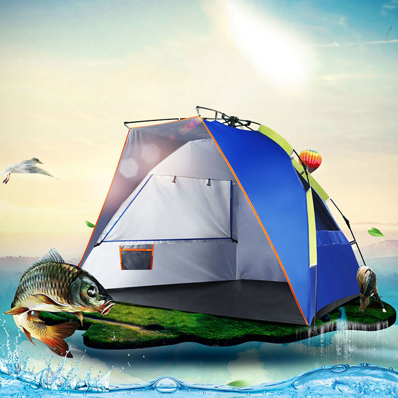Summer 2 Person Fishing Automatic Tent Outdoor Camping Beach waterproof Tienda Quick Open Pop Up Single layer Awning Tents ZP63 high quality outdoor 2 person camping tent double layer aluminum rod ultralight tent with snow skirt oneroad windsnow 2 plus
