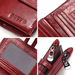 Image 5 - KAVIS Dark Red Genuine Leather Women Wallet Female Coin Purse Small Walet Portomonee Lady PORTFOLIO Zipper for Girls Vallet Mini