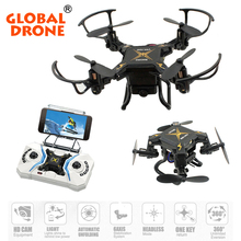 Global Drone Micro Quadcopter RTF with HD Camera 2.4G 4CH 6-Axis Gyro RC Helicopter Wifi FPV  Mini Foldable Drone VS E59 S9