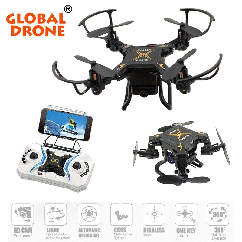 Mondiale Drone Micro Quadcopter RTF avec Caméra HD 2.4G 4CH 6-Axis Gyro RC Hélicoptère Wifi FPV Mini Pliable Drone VS E59 S9