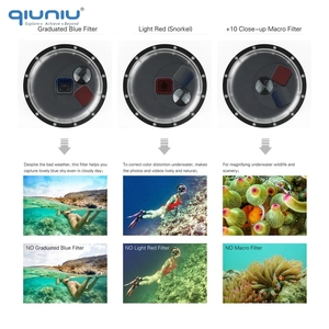 Image 3 - QIUNIU Underwater Waterproof Switchable Filters Dome Port Lens Cover Float Hand Grip for GoPro HERO 5 6 7 Black Go Pro Accessory