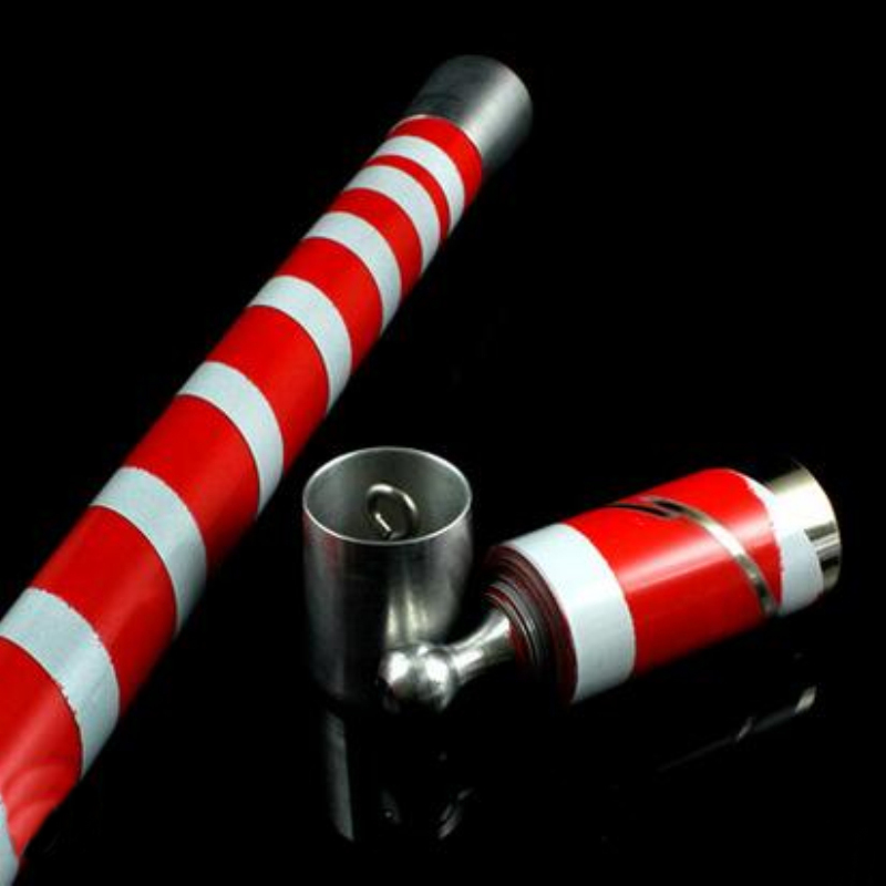 Vara de varita de desaparición mágica de acero de la más alta calidad en rojo y blanco, accesorios mágicos, trucos de magia
