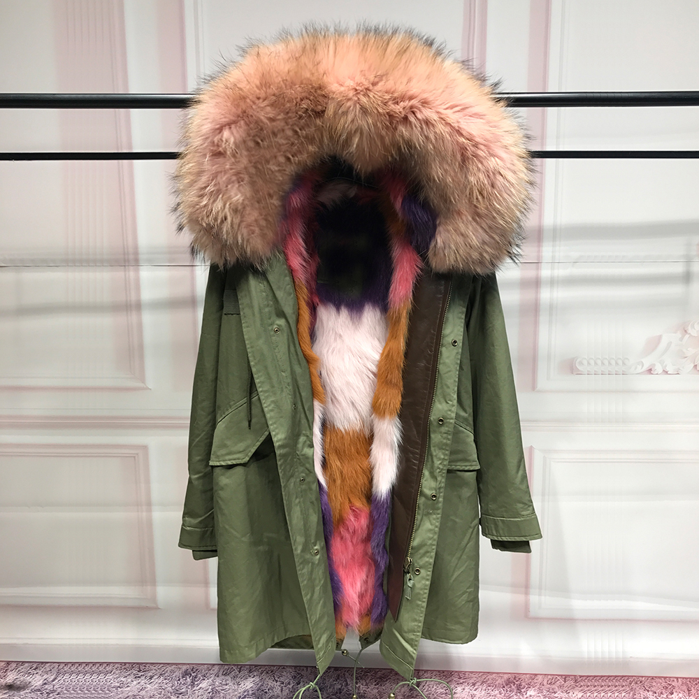 Real Fox Fur Liner winter jacket women army green parka coat big raccoon fur collar hooded parkas thick outerwear for woman real fox fur liner winter jacket women new long parka real fur coat big raccoon fur collar hooded parkas thick outerwear