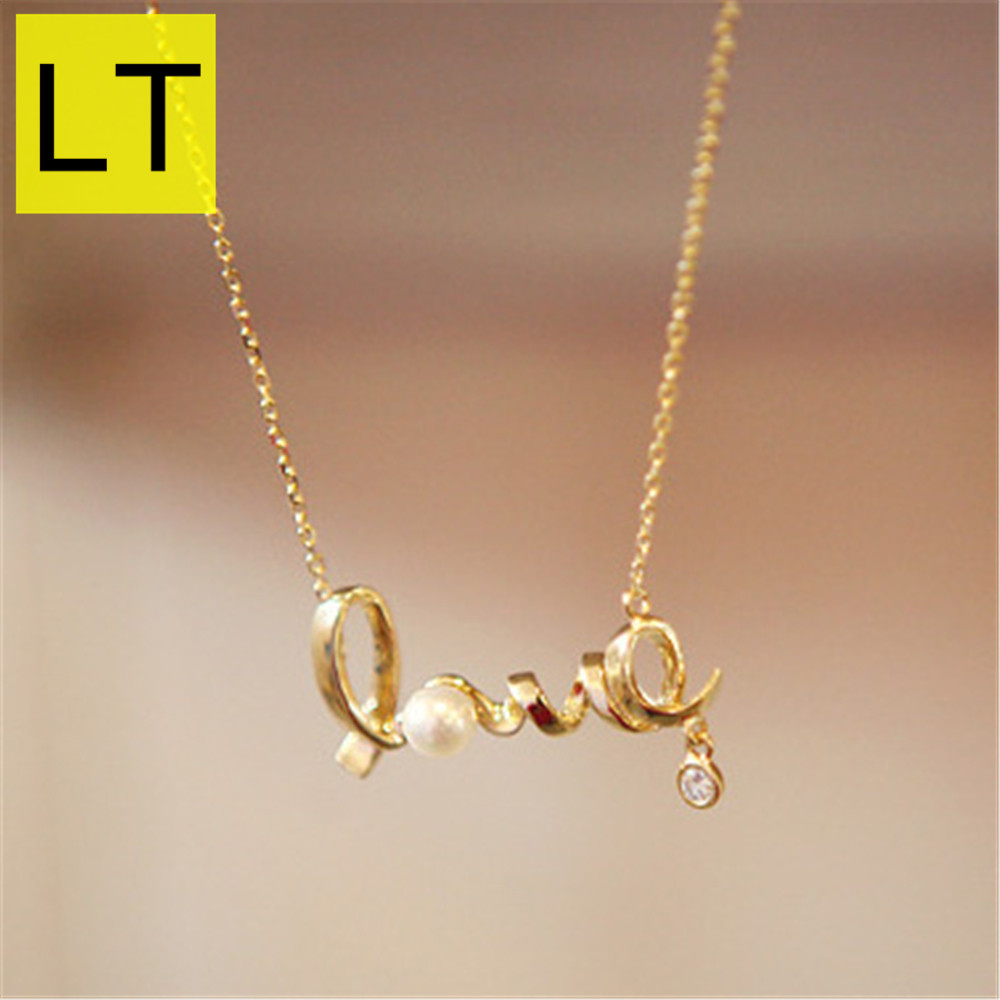 LT Fashion LOVE Letter Shape Pendant & Necklace For Women Girls With Crystal Rhinestone Imitation Pearl Short Neklaces Q-051