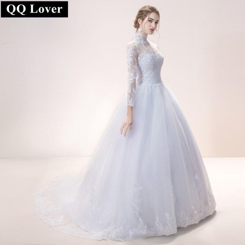 QQ Lover 2019 Cheap Long Sleeve Lace Wedding Dress High Neck Custom-made Vestido De Noiva Free Shipping