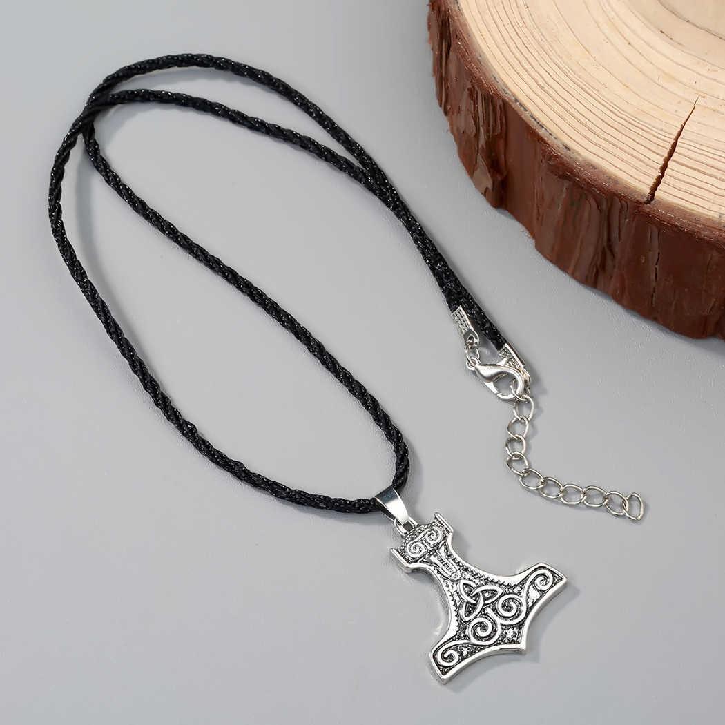 Kinitial masculino vintage viking thor martelo pingente de jóias colar irlandês celtics nó pingente amuleto símbolo sorte colar presente