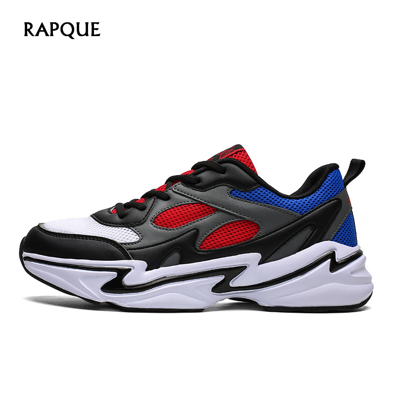 Platform Sneakers Men Fashion Mesh Breathable Summer Shoes Male Mixed Colors Lace-Up Rubber Sole Popular Footwear Comfortable